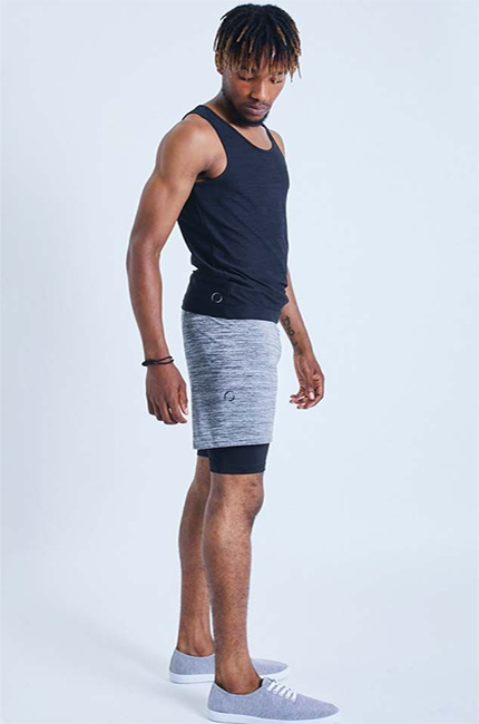 Ohmme 2-Dogs Lined Yoga Shorts (Grey)