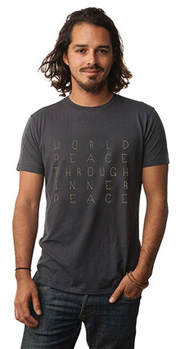 Gold World Peace Be Love T-Shirt (Thunder)