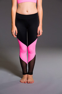 ONZIE Youth Track Legging (Black / Tropic Pink / Black Mesh)