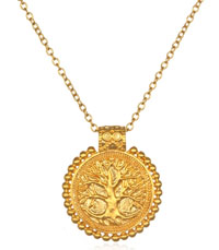 Earth and Moon Mandala Necklace in Gold