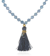 Gold Angelite and Blue Topaz Mala - Many Truths
