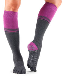 Fulltoe Scrunch Knee High Grip (Mulberry Stripe)