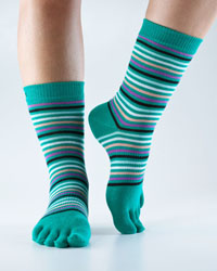 Toesox Casual Crew (Retro Emerald Stripe)