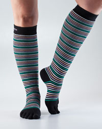 Toesox Casual Knee High (Retro Black Stripe)