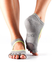 Toesox Halftoe Plié Grip (Heather grey/lime)