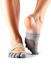 Toesox Fulltoe Relevé Grip (Hearther grey / Lime)