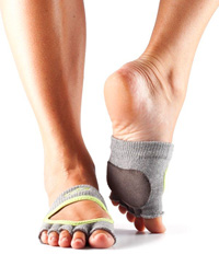 Toesox Halftoe Relevé Grip (Heather grey / Lime)