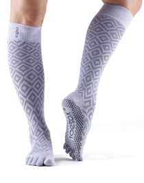 ToeSox Full Toe Scrunch Knee High Grip (Diamond Lotus)